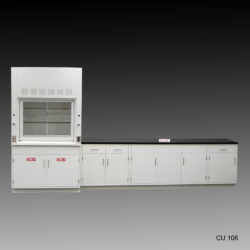 4' Fisher American Fume Hood with Acid Storage & 10' Laboratory Cabinet Group (CU-106)