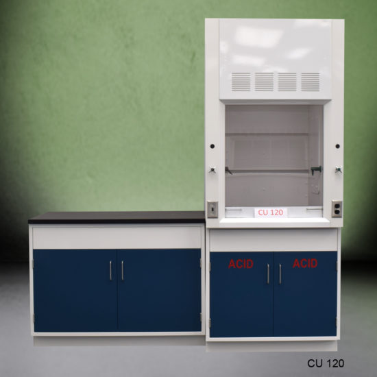 3' Fisher American Fume Hood with ACID Storage and 4' Laboratory Cabinet Group (CU-120)