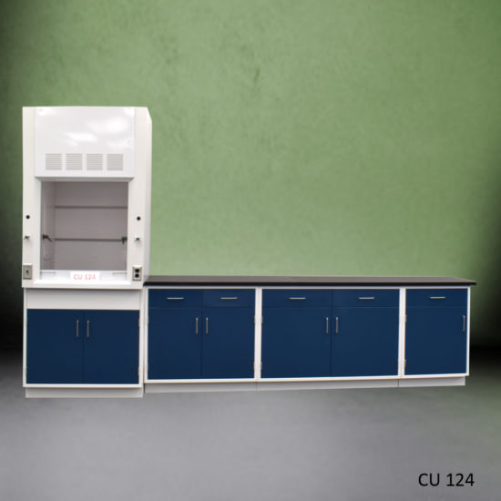 3' Fisher American Fume Hood & 14' Laboratory Cabinet Group (CU-124)