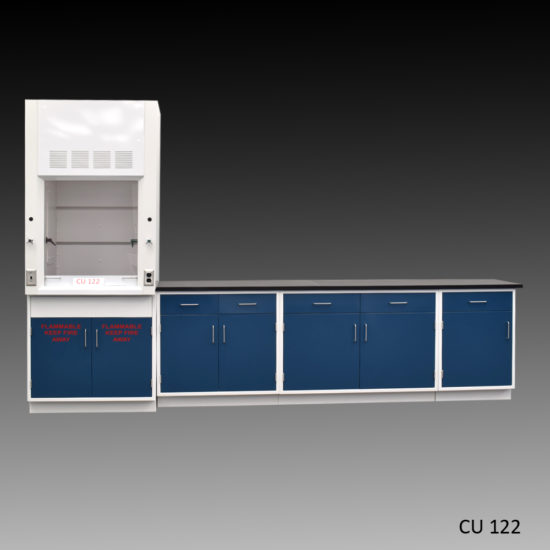 3' Fisher American Fume Hood w/ Flammable Storage & 9' Laboratory Cabinet Group (CU-122)