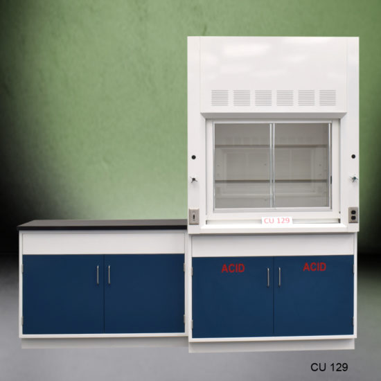 4' Fisher American Fume Hood with ACID Storage and 4' Laboratory Cabinet Group (CU-129)