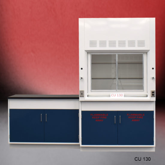 4' Fisher American Fume Hood w/ Flammable Storage and 4' Laboratory Cabinet Group (CU-130)
