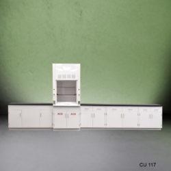 3' Fisher American Fume Hood w/ ACID Storage & 15' Laboratory Cabinets (CU-117)