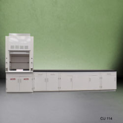 3' Fisher American Fume Hood w/ ACID Storage & 10' Laboratory Cabinet Group (CU-114)