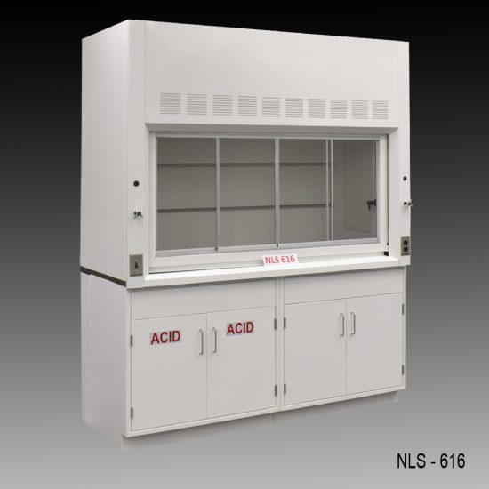 Angled view of 6 Foot Fisher American Fume Hood with one acid storage cabinet and one general storage cabinet