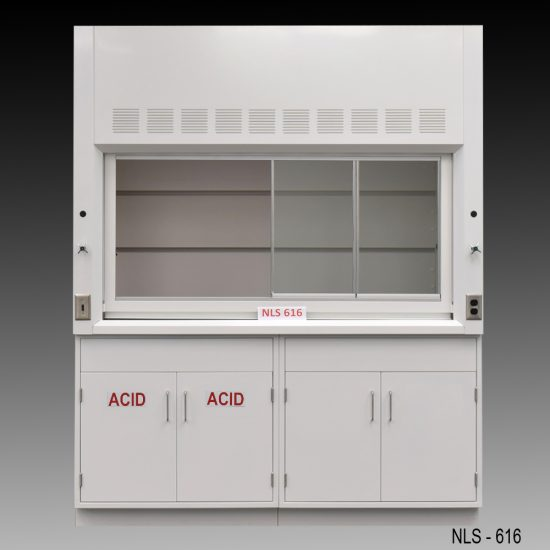 Front view of 6 Foot Fisher American Fume Hood with one acid storage cabinet and one general storage cabinet