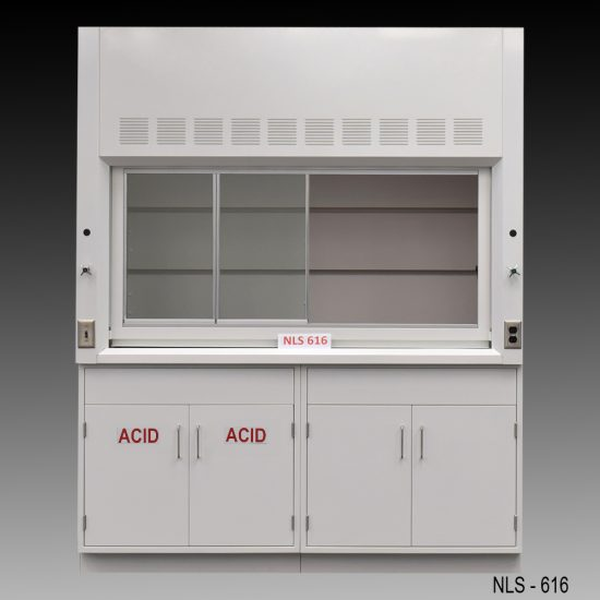 Front view of 6 Foot Fisher American Fume Hood with one acid storage cabinet and one general storage cabinet. Sash is partially open.