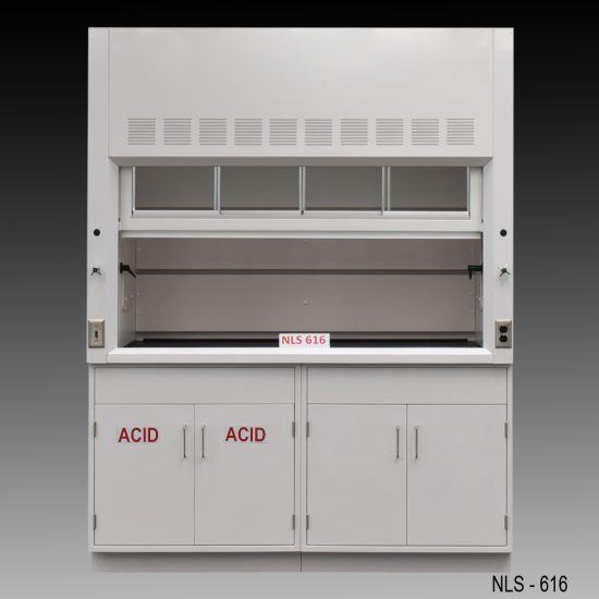 Front view of 6 Foot Fisher American Fume Hood with one acid storage cabinet and one general storage cabinet. Sash is open.
