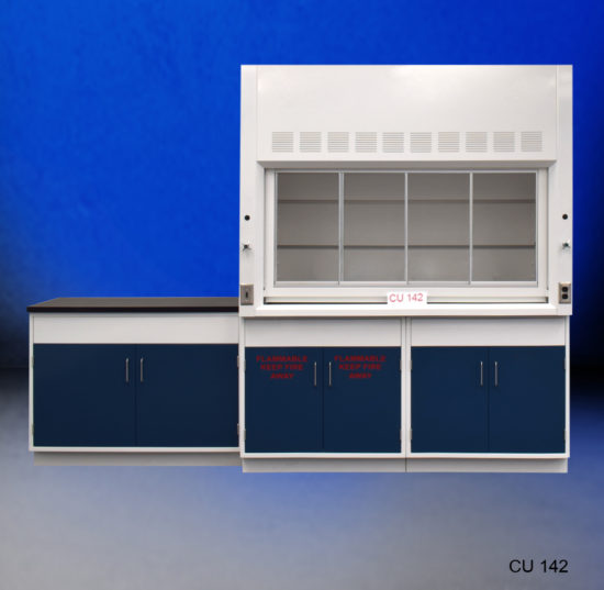 6' Fisher American Fume Hood w/ General & Flammable Storage and 4' Laboratory Cabinet Group (CU-142)