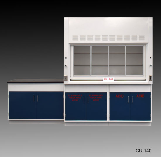 6' Fisher American Fume Hood w/ Acid & Flammable Storage & 4' Laboratory Cabinet Group (CU-140)