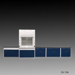 4' Fisher American Fume Hood w/ General Storage & 14' Laboratory Cabinet Group (CU-134)
