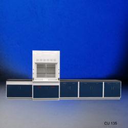 4' Fisher American Fume Hood w/ Acid Storage & 14' Laboratory Cabinet Group (CU-135)