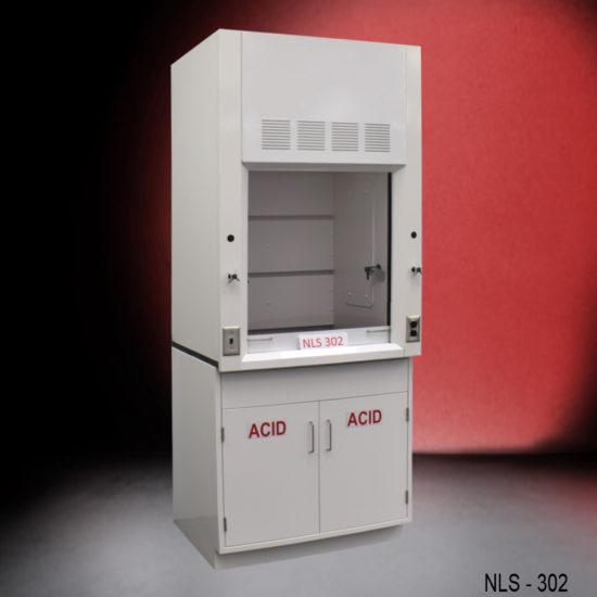 3′ Fisher American Fume Hood w/ Acid Storage Cabinet (NLS-302)