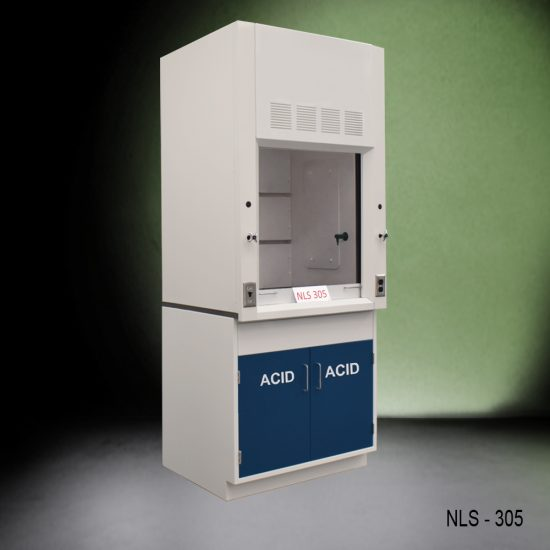 Angled view of Fisher American 3 Foot Fume Hood with blue acid cabinet