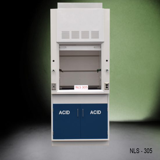 Front view of Fisher American 3 Foot Fume Hood with blue acid cabinet