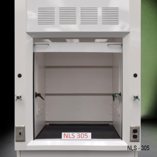 Close up view of working area on a Fisher American 3 Foot Fume Hood with cabinet