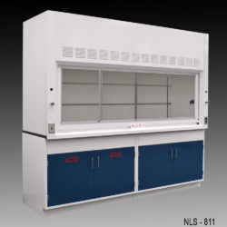 8' Fisher American Fume Hood w/ Acid & General Storage Cabinet (NLS-811)