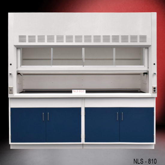 New fume hood with blue general storage cabinets.