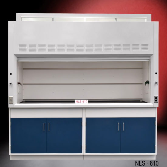New fume hood with blue flammable storage cabinets.
