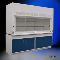 Angled view of 8 Foot Fisher American Fume Hood with two general storage cabinets