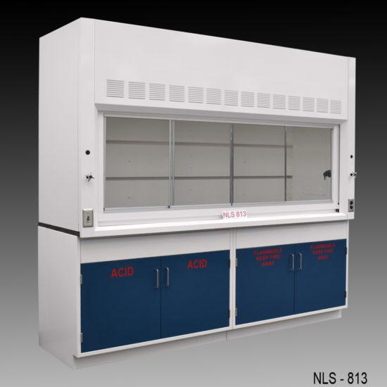 8' Fisher American Fume Hood w/ Flammable & Acid Storage Cabinets (NLS-813)