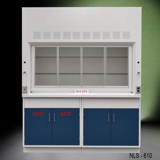 6' Fisher American Fume Hood w/ General & Acid Storage Cabinets (NLS-610)