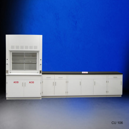 4' Fisher American Fume Hood w/ Acid Storage & 10' Laboratory Base Cabinets