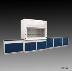 Fume hood and cabinet combination with blue flammable cabinets.