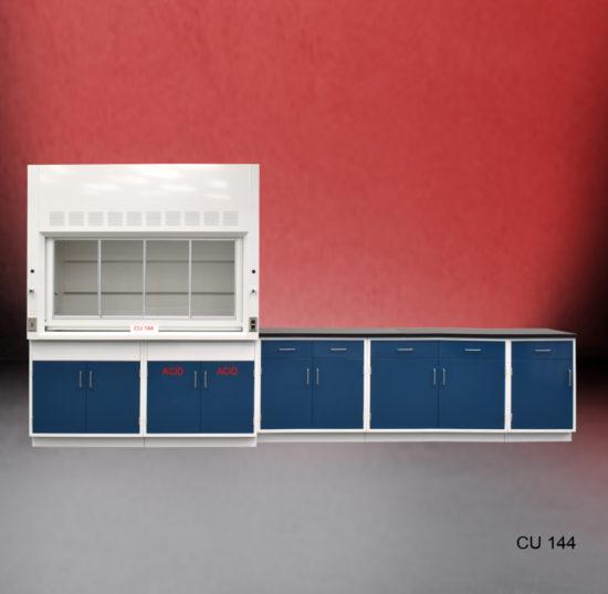 6' Fisher American Fume Hood w/ Acid & General Storage & 9' Laboratory Cabinet Group (CU-144)