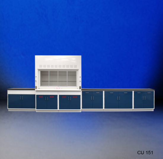 6' Fisher American Fume Hood w/ Acid Storage & 14' Laboratory Cabinet Group (CU-151)