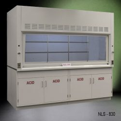 White fume hood with four white acid storage cabinets.