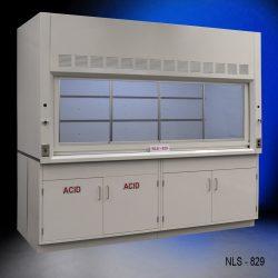 White fume hood with two white acid storage cabinets and two white general storage cabinets.