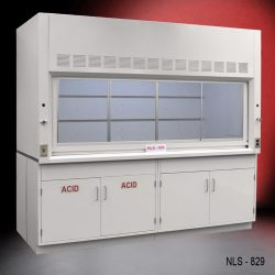 Angled view of an 8 Foot x 4 Foot Fisher American Fume Hood with one acid cabinet and one general storage cabinet