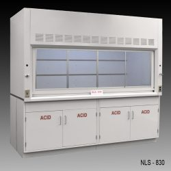 Front view of 8 Foot by 4 Foot Fisher American Fume Hood with two acid cabinets
