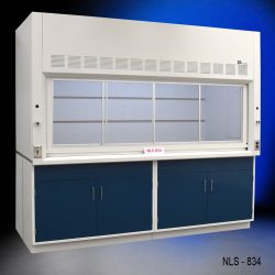 White fume hood with four blue general storage cabinets.