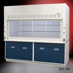 White fume hood with four blue acid storage cabinets.