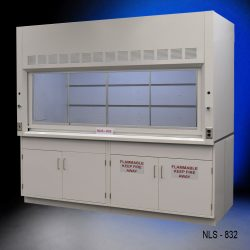 Used white fume hood with two flammable cabinets and two general storage cabinets.