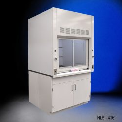Side view of new fume hood with flammable cabinets with blue background from National Laboratory Sales.