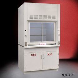 Side view of new fume hood with flammable cabinets with red background from National Laboratory Sales.