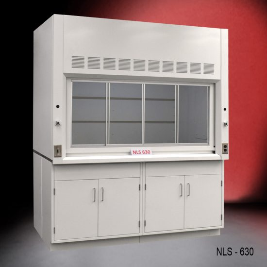 Front view of a 6 foot x 4 foot fume hood with two general storage cabinets. NLS 630