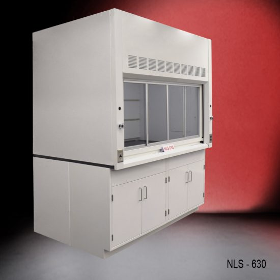 Angled view of a 6 foot x 4 foot fume hood with two general storage cabinets.