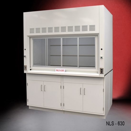 Front view of a 6 foot x 4 foot fume hood with two general storage cabinets.