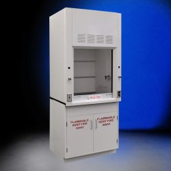 Front view of 3 Foot Fisher American Fume Hood with flammable storage cabinets