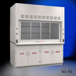 Front view of an 6 Foot by 4 Foot Fisher American Fume Hood with two acid storage cabinets