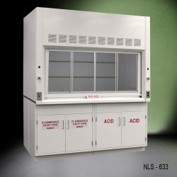 Front view of a 6 foot by 4 foot Fisher American fume hood with flammable and acid storage