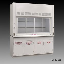 6 foot Fisher American fume hood with acid and flammable cabinets
