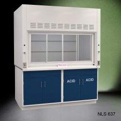 Angled view of Fisher American 6'x4' Fume Hood with two blue acid and two general storage cabinets.