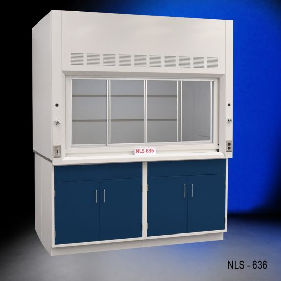 Angled view of Fisher American 6'x4' Fume Hood with two blue general storage cabinets.