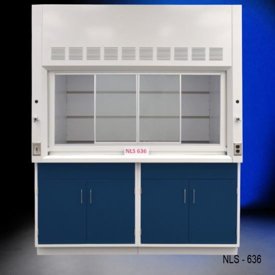 Front view of Fisher American 6'x4' Fume Hood with two blue general storage cabinets.