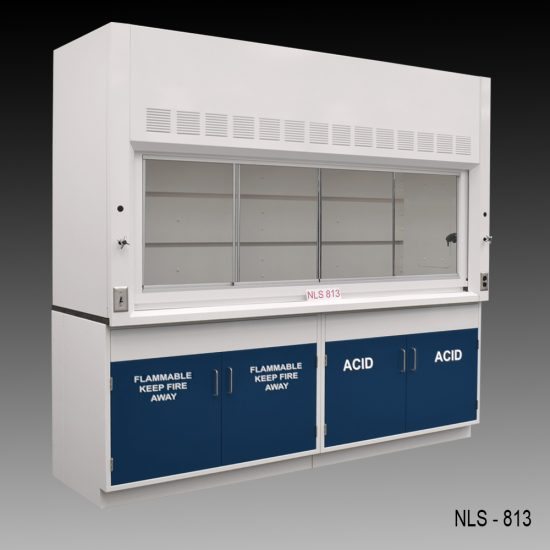 Front view of an 8 foot Fisher American fume hood with acid and flammable cabinets